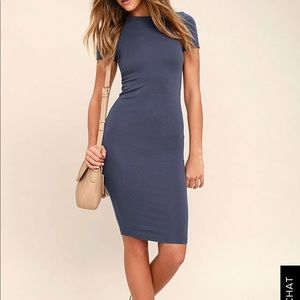 NWT Lulus Like Minded Slate Blue Bodycon Dress